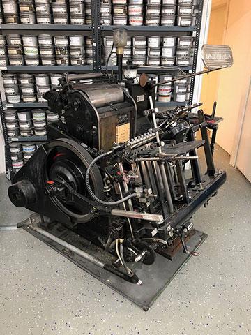 Eine historische Druckmaschine