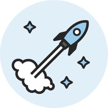 Icon einer startenden Rakete für Kreativworkshops bei KOCH ESSEN.