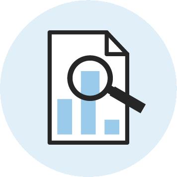 Icon eines Diagramms mit Lupe für Strategieworkshops bei KOCH ESSEN.