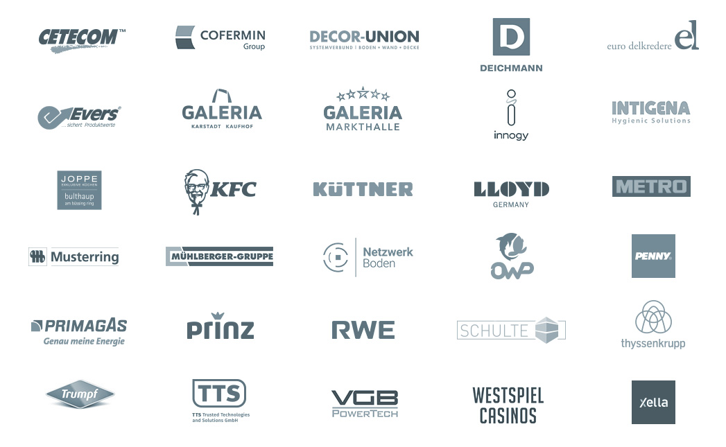 Logowall: Einige unserer Agentur-Kunden aufgelistet. Darunter viele große Marken, aber auch lokale Unternehmen aus Essen und dem Ruhrgebiet