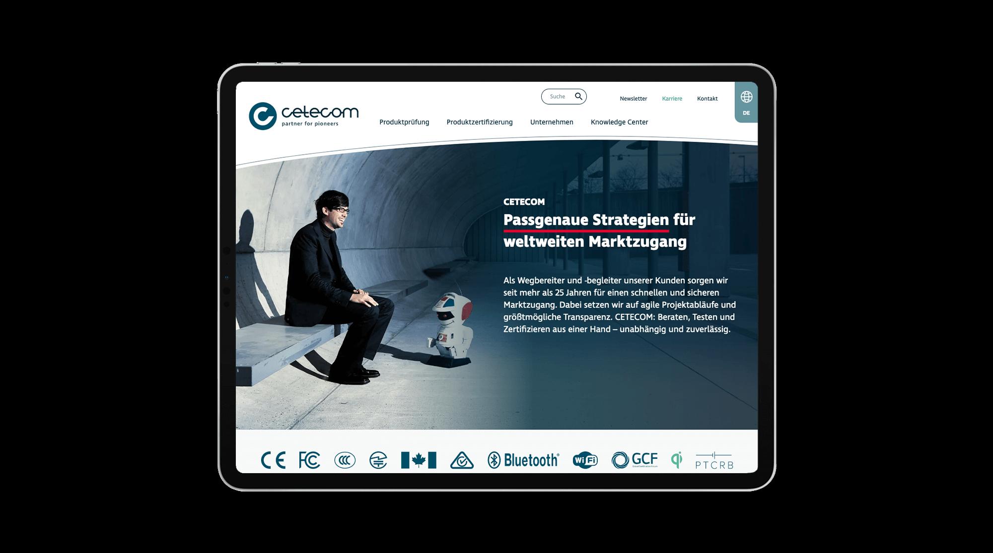 Ansicht der Website nach dem erfolgreichen Relaunch auf einem Mobilgerät (Tablet)